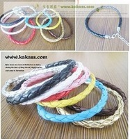Free shipping 100pcs/lot bracelets & bangles new 2014 Pu bracelet candy color PU knitted bracelet leather cord bracelet