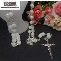 [Mix 15USD]Chain Cross Rosary Necklace Religious Nature beads stone Fashion