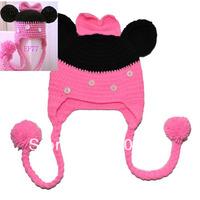 New baby crochet hat handmade knitted boys girls minnie mouse hat kids winter cap children beanies Free Shipping