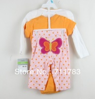 Free Shipping carter's baby 3 piece long sleeve + short sleeve rompers with pants set, 5sets/lot