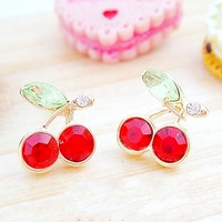 0240 rhinestone red cherry stud earring