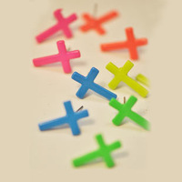Fashion hot-selling neon candy color cross stud earring female