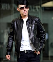 HOTsell brand men's fashion Top sheepskin leather jackets men motorcycle genuine leather jakcet coat big size jacket M-4XL
