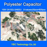 Free Shipping 31valuesX20pcs=620pcs Polyester Film Capacitor Assortment Kit 100V 2A102J - 2A822J Pack