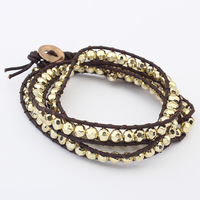 Wholesale New Fashion Women Punk Multiple Leather with Beads Bracelet Charm Bracelet Jewelry Free Shipping
