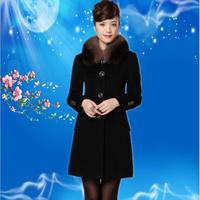 elegant women Autumn quality fox fur luxury high quality cashmere overcoat luxury woolen outerwear female  winter warm coat