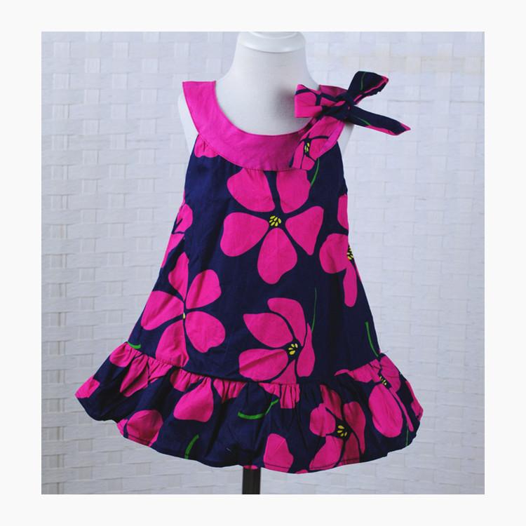 rose flower girls beach dress,children floral dress with bowknot,kids sleeveless dress 2-5 years(China (Mainland))
