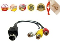 HOT SALE- 9 Pin Male S-Video to 3 RCA Composite PC TV AV Audio Video Adapter Cable,13.5cm, Free shipping