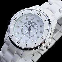 Brand SINOBI watches Round Dial Embedded Rhinestones luxury Quartz ladies Watch with 100% white Ceramic Band with original box