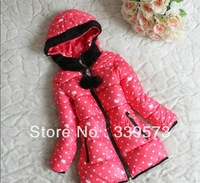 New 2013 Winter Girls Parkas Children Outerwear Padding Jackets Kids Dots printing Causal Waded Hooded Eiderdown cotton Coat