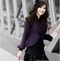 2013 Spring and Autumn new Korean hollow bat ladies crochet knit cardigan sweet wood ear