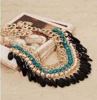 2013 New Layered Bohemian Tassels Fringe Drop Vintage Gold Choker Chain Neon Bib Statement Necklace XSM003 Free shipping