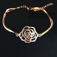 HEB034  Wholesale 14K Rose Gold Plated Titanium flowers Bracelets Fashion Jewelry women pulseras Mujer pulseiras femininas