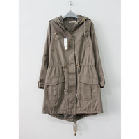 free shipping Women's slim casual drawstring waist multi-pocket slim with a hood dovetail medium-long trench outerwear