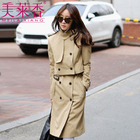 2013 autumn women's vintage long design women's trench outerwear twinset