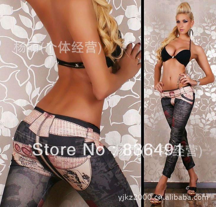 9713 Black Seamless white belt Printed Denim Leggings Seamless leggings nine points Free shipping(China (Mainland))