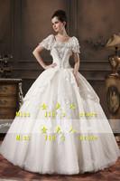 2013 new arrival wedding dress bride fashion cape type tube top racerback wedding puff sleeve lace wedding dress