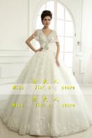 2013 new arrival wedding dress bride white wedding dress deep V-neck crystal handmade luxury racerback wedding