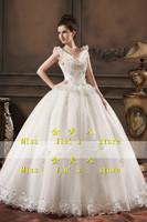 New arrival 2013 bride white crystal wedding dress double-shoulder racerback V-neck wedding luxury