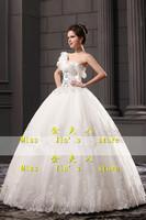 2013 new arrival wedding dress  one shoulder wedding dress  lace princess wedding dress