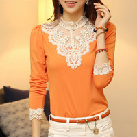 2013 female autumn long-sleeve slim o-neck top patchwork shirt all-match basic t-shirt