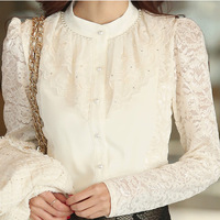 2013 autumn women's stand collar elegant lace long-sleeve basic shirt slim ruffle lace shirt