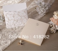 Sample order free shipping 1pcs Elegant White Lace Flower Wedding Invitation Card greeting Card with Envelope,blank inside card