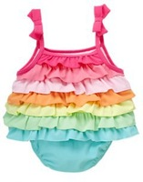 Rainbow color baby romper/Strap and ruffle design Children's clothing babys girls Romper triangle crawling Sling bow cake skirt