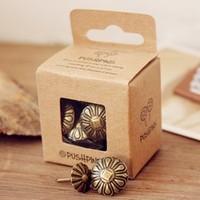 Free Shipping Vintage decorative pattern pushpin boxed pins copy supplies cork message board 20 box