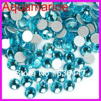 Min order $10 FJA0092 1440pcs/lot Cheap Shiny Aquamarine dmc flat back rhinestone crystals in bulk 2mm 3mm 4mm 5mm Free shipping
