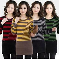 2013 autumn and winter medium-long women's basic shirt sweater female sweater slim dress lengthen