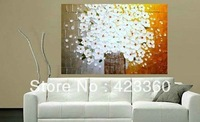 Freeshipping!Huge 100% hand painted white Floral  Art palette knife textured oil painting on canvas wall art canvas