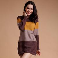 2013 autumn color block stripe women's slim long paragraph sweater thin one-piece dress casual sweater