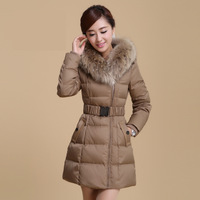 Ultralarge 2013 winter raccoon fur slim with a hood elegant female medium-long down coat thick