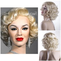 Hot sale!!!women nice blonde wig hair,Fashion hair short curly wig,Lady wig,synthetic Short hair,High-quality Marilyn Monroe wig