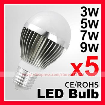 5pcs/lot 3W 5W 7W 9W LED Bulb AC110-220V  E27 LED Lamp Cold/Warm white smd 2835 LED Light Spotlight Free Shipping