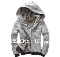 Free shipping 2013 new fashion autumn and winter plus velvet Hoodies men's sport sweatshirts coats bigger size Zipper outwear