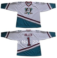 Custom Ice Hockey Jonas Hiller #1 Mighty Ducks Of Anaheim Jersey 1996 White - Customized Any Name And Number Swen On (S-5XL)