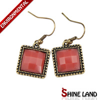 Antique Jewelry New Arrival Fashion Ethnic Vintage Gold Plated Crystal Square Statement Drop Earrings Jewelry for Women