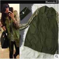 Free Shipping Army Green Military Casual Zipper Long Sleeve Fall Autumn Sequins Slim Pockets Vintage Fashion Women Jackets Coat