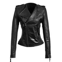 Sheepskin ! FREE Shipping Women's brand fashion genuine leather o-neck slim motorcycle clothing leather jacket coat / S-XXXL