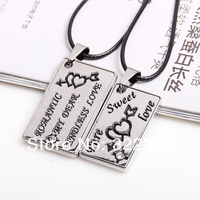 2013 New Punk Valentine Originality Diy Titanium The Love Brand Heart Couple Necklaces Set Mondri (1 Pair=2pcs) Christmas Gift