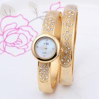 1 Pair! 2014 Women's Fashion Bracelet Stainless Watches Gold & Silver Style Luxury Watch Lady Rhinestone Diamond Dress Watches
