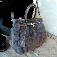 free shipping Luxury fur women's handbag fashion women's handbag bag lock bag rabbit fur handbag one shoulder women's handbag