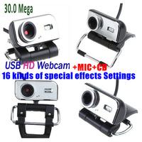 10pcs/lot 16 kinds of special features 2.0 30M  WEBCAM HD CAMERA DIGITAL WEB CAM +MIC +CD FOR Computer PC Laptop BUX049