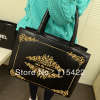 2013 women handbag letter embroidery shaping square bag  vintage shoulder bag pu leather bag free shipping