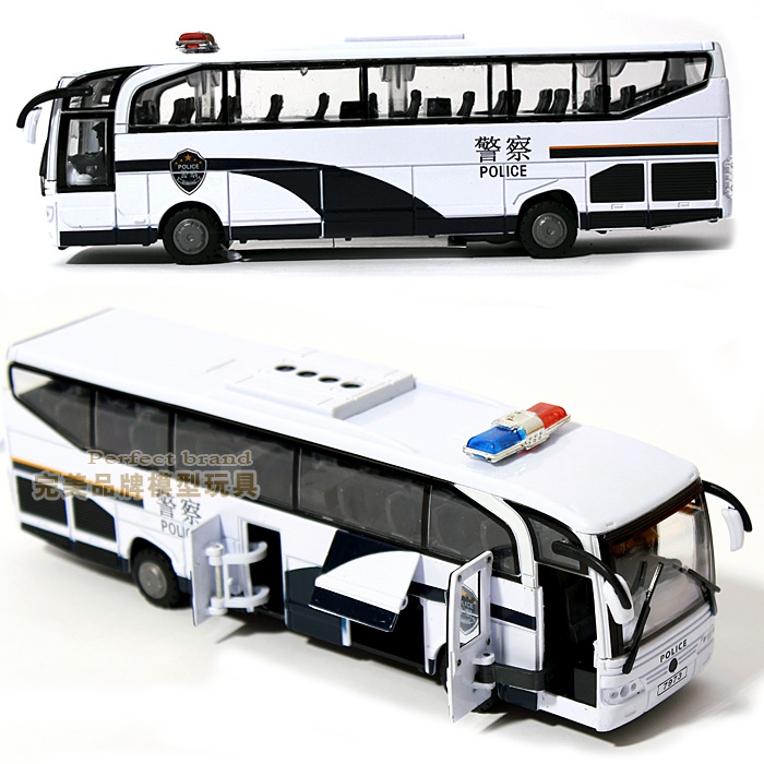 Acoustooptical 110 alloy big bus child police car toy bus large coach model(China (Mainland))
