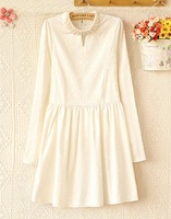 Free Shipping New Arrival Pearl Embellished Stand Collar  Dress