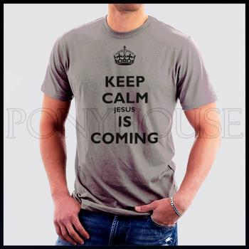 KEEP calm JESUS is coming mercy Catholic Christian god  t-shirts men short sleeves high quality Fashion Brand t shirt 2013 new