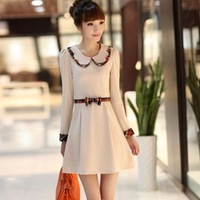 2013 women's peter pan collar slim elegant long-sleeve dress s-xxl